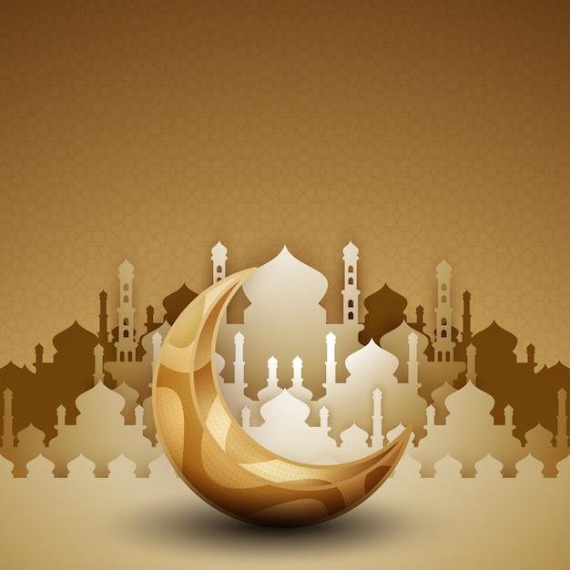 Siluetta dorata della moschea 3d con la luna a mezzaluna. Vettore Premium