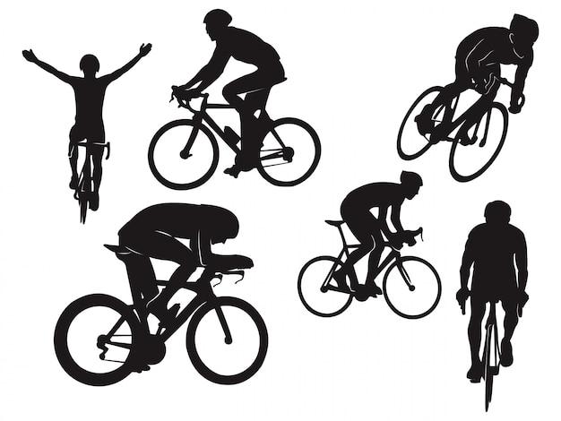 Siluetta nera di celebrazione della bici della bici da corsa di giro in bicicletta del motociclista Vettore Premium