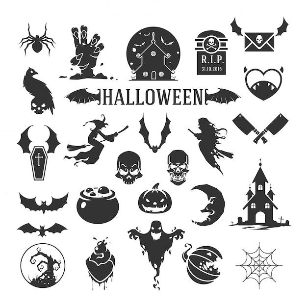 Siluette di halloween isolate su fondo bianco Vettore Premium
