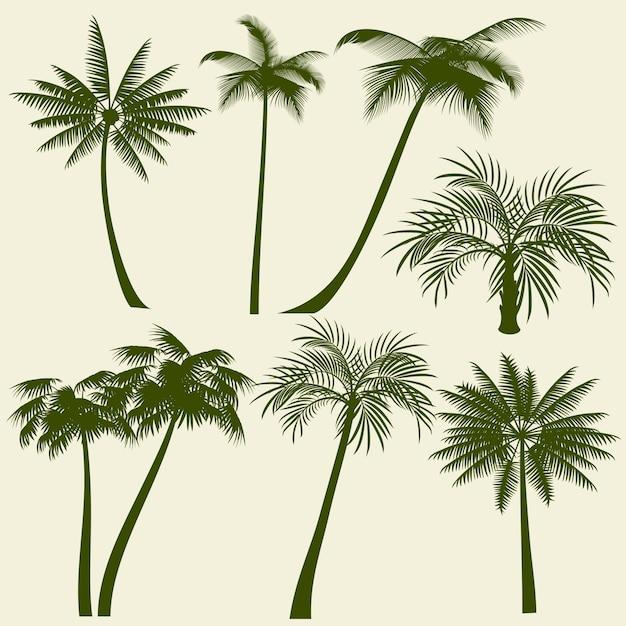 Siluette di vettore della palma di vacanza estiva Vettore Premium