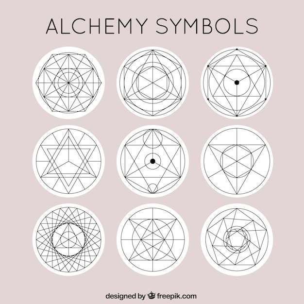 Simboli alchimia carino Vettore gratuito