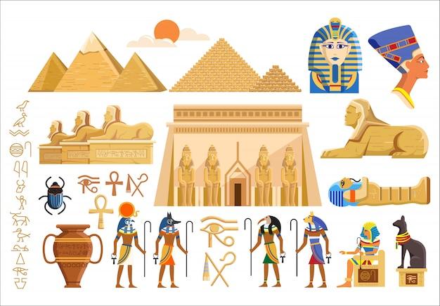 Simboli culturali dell'antico egitto Vettore Premium