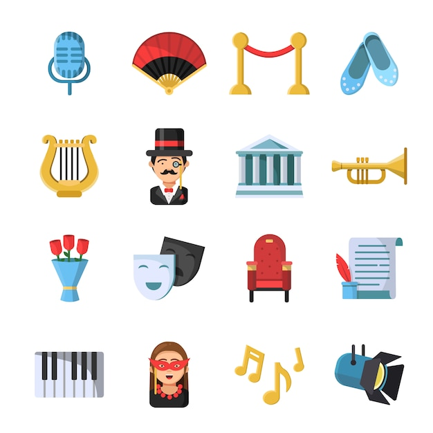Simboli della cultura maschere e altri set di icone del teatro Vettore Premium