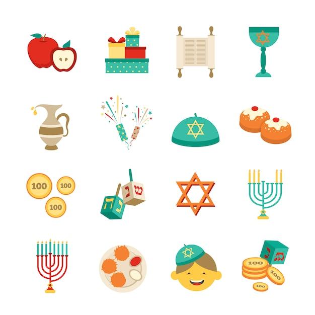 Simboli delle icone di hanukkah impostate Vettore gratuito