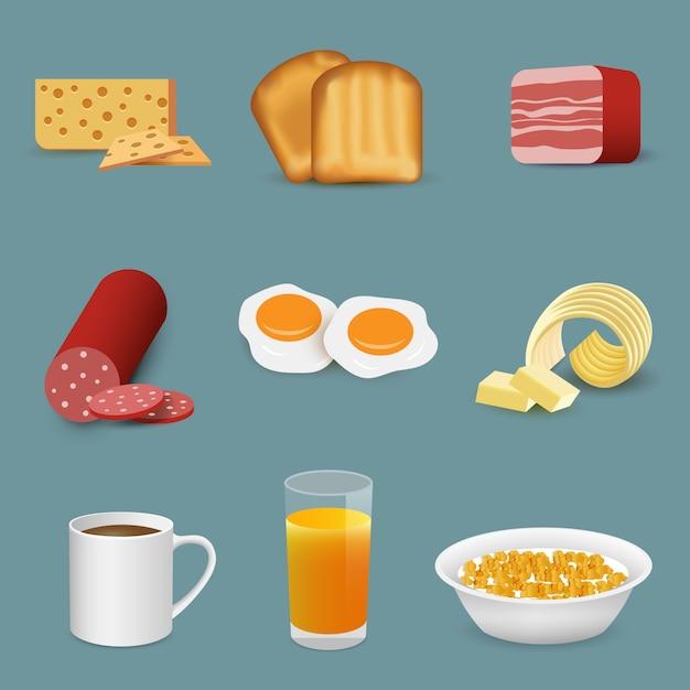 Simboli di cibo e bevande fresche di mattina, icone colazione Vettore Premium
