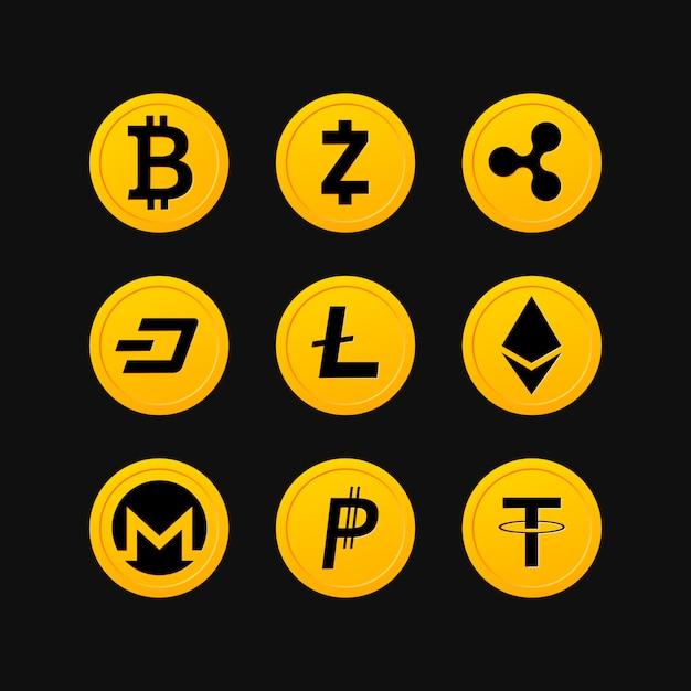 Simboli di criptovaluta Vettore Premium