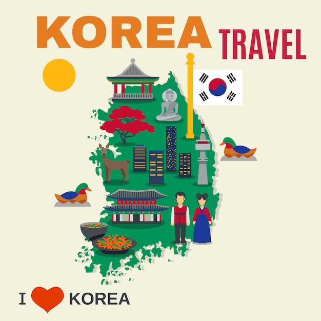 Simboli di cultura coreana mappa viaggio poster Vettore gratuito