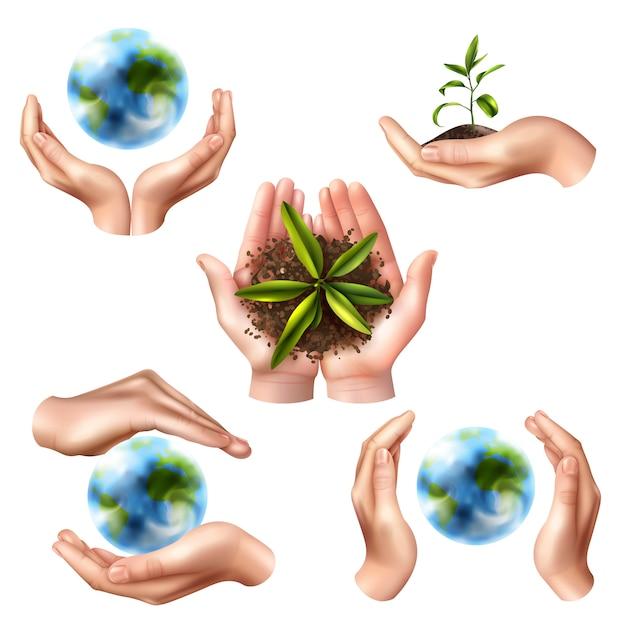 Simboli di ecologia con mani realistiche Vettore gratuito
