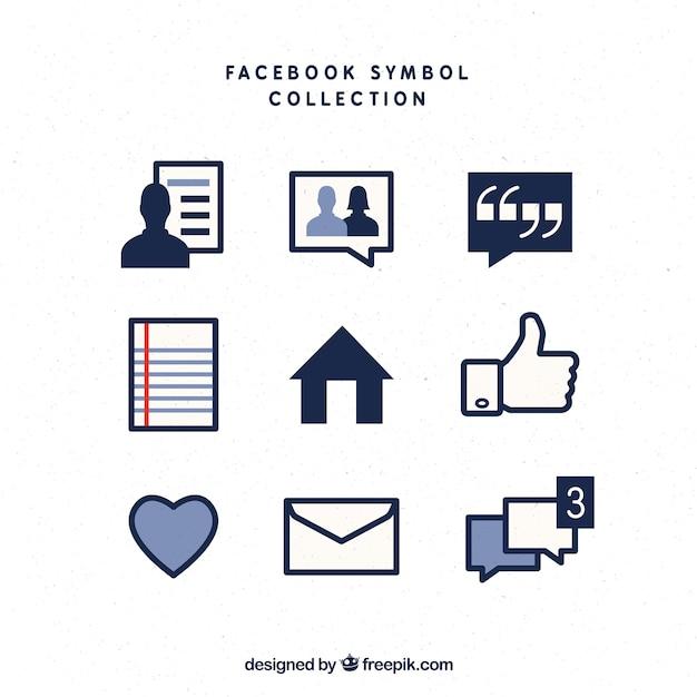 Simboli di facebook impostati Vettore gratuito