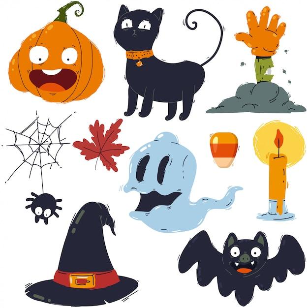 Simboli di halloween, icone, insieme disegnato a mano del fumetto degli elementi isolato sopra. Vettore Premium