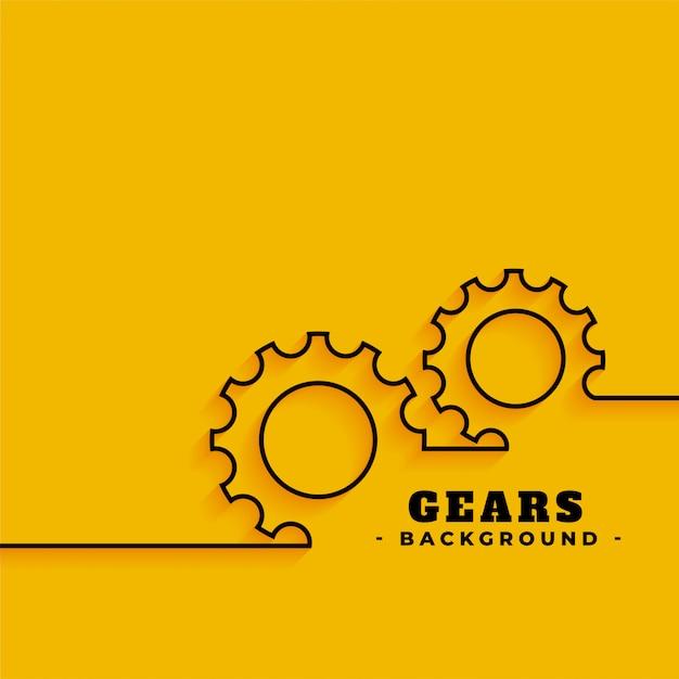 Simboli di ingranaggi di linea su sfondo giallo Vettore gratuito