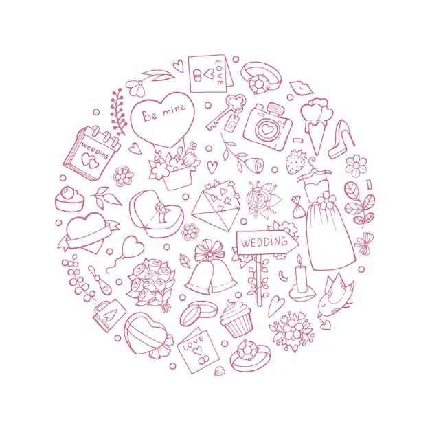 Simboli di nozze a forma di cerchio. illustrazioni del matrimonio Vettore Premium