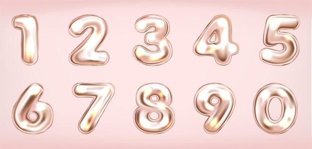 Simboli di numeri luminosi metallici rosa Vettore Premium