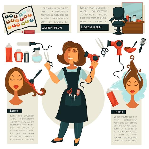 Simboli di parrucchiere e strumenti da barbiere Vettore Premium