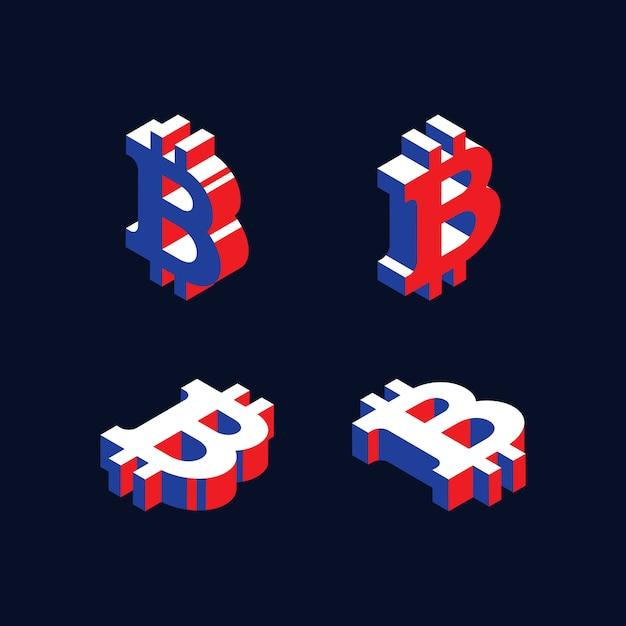 Simboli isometrici della criptovaluta bitcoin in stile geometrico 3d con colori rosso, blu e bianco Vettore Premium