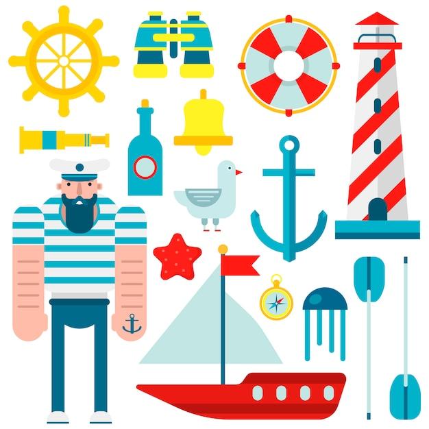 Simboli marini di marinaio nautico e icone piane di vettore Vettore Premium