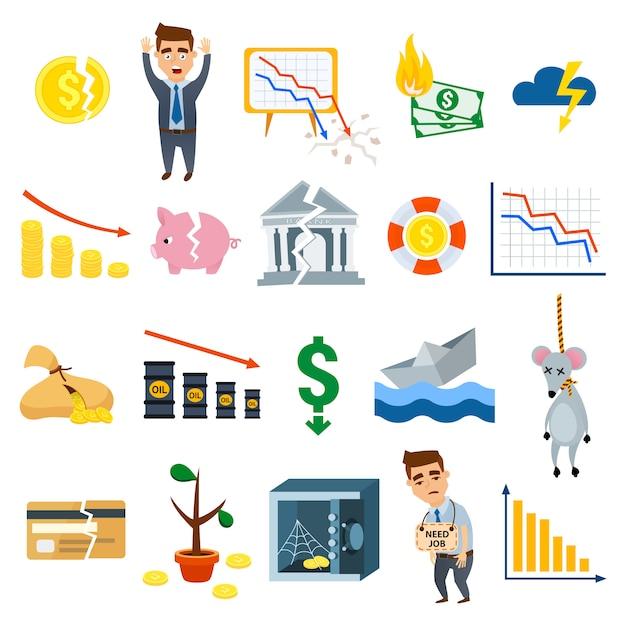 Simboli piani dell'illustrazione di vettore di finanza del segno di affari di simboli di crisi Vettore Premium
