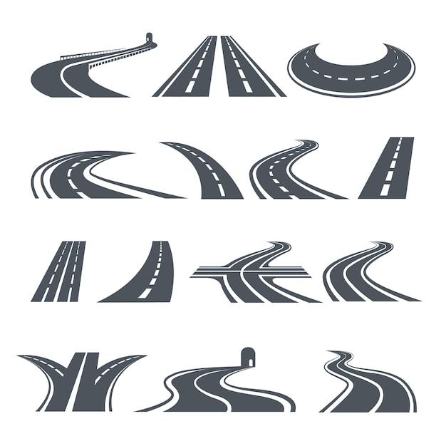 Simboli stilizzati di strada e autostrada. Vettore Premium
