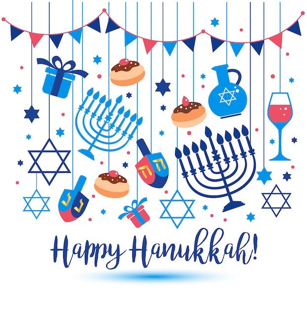 Simboli tradizionali di festa ebraica hanukkah cartolina d'auguri. Vettore Premium