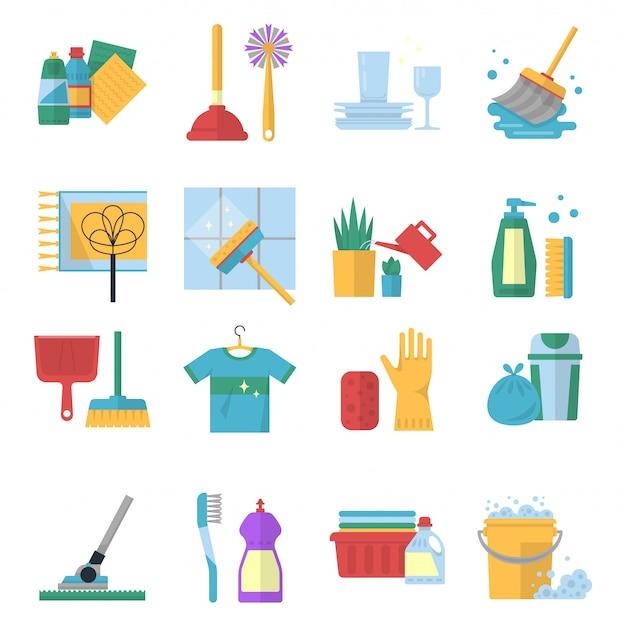 Simboli vettoriali di servizi di pulizia in stile cartoon. Vettore Premium
