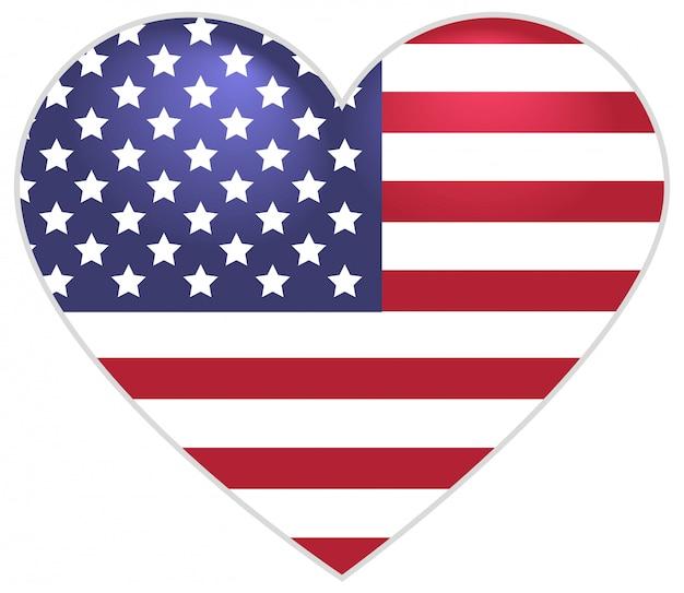 Simbolo bandiera degli stati uniti a forma di cuore Vettore Premium
