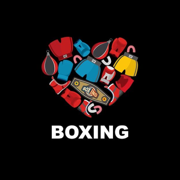 Simbolo del cuore del pugilato: casco, pantaloncini e guantoni da boxe. adoro la boxe. Vettore Premium