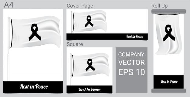 Simbolo del lutto con nastro e bandiera di rispetto nero Vettore Premium
