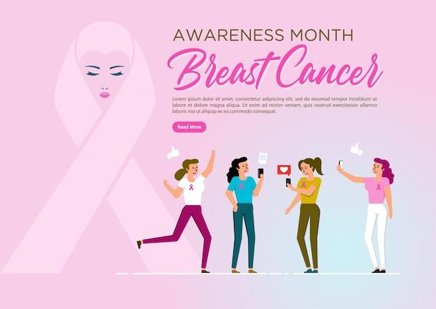 Simbolo del nastro del cancro al seno Vettore Premium