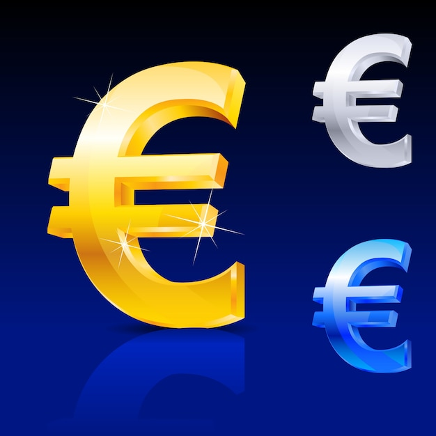 Simbolo dell'euro Vettore Premium