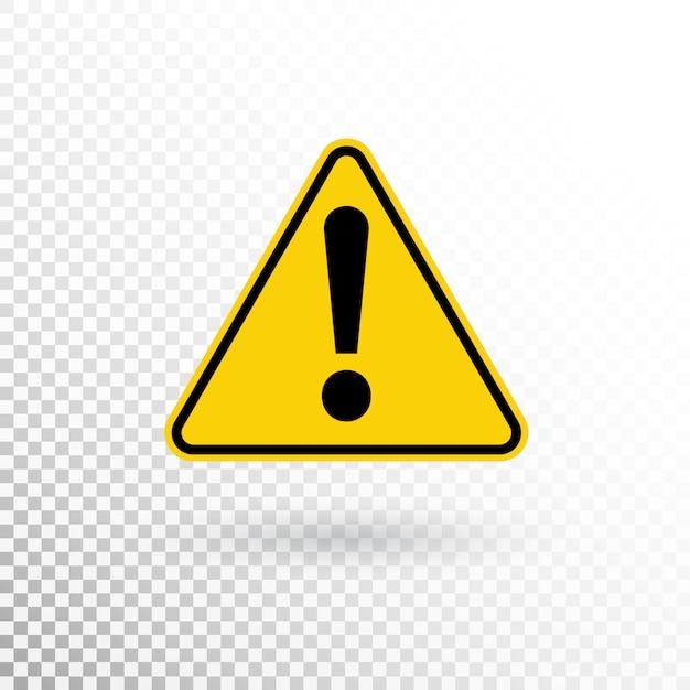 Simbolo di avvertimento. pulsante di attenzione. segnale di pericolo. icona del punto esclamativo in stile piano Vettore Premium