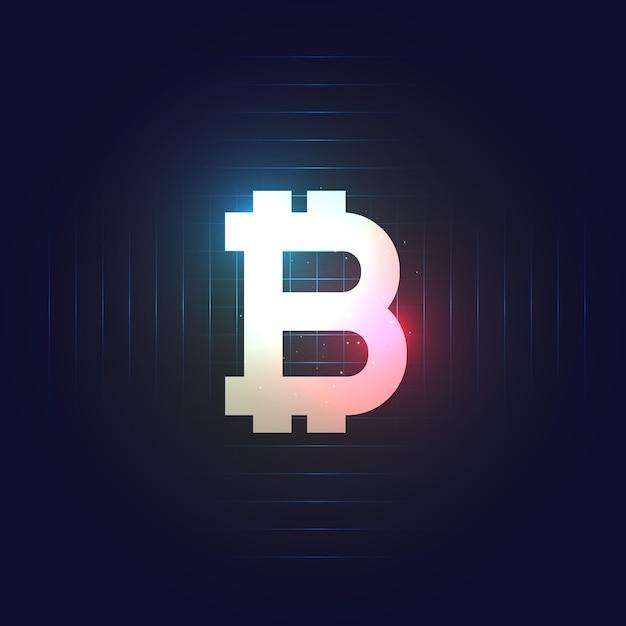 Simbolo di bitcoin su sfondo blu scuro Vettore gratuito