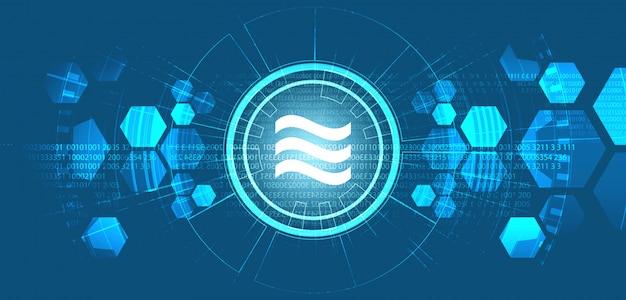 Simbolo di criptovaluta della bilancia su progettazione di massima del fondo di tecnologia digitale, blockchain e portafoglio, illustrazione ,. Vettore Premium