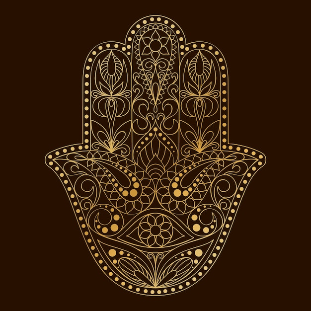 Simbolo di hamsa disegnato a mano mano di fatima. Vettore Premium