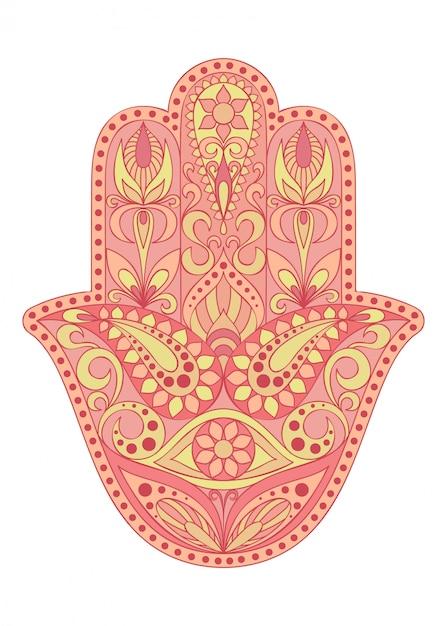Simbolo di hamsa disegnato a mano mano di fatima Vettore Premium