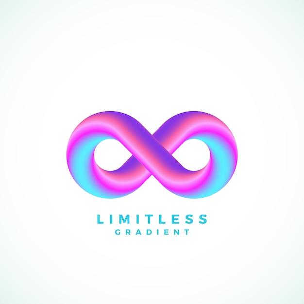 Simbolo di infinito astratto con sfumatura moderna e tipografia. Vettore Premium