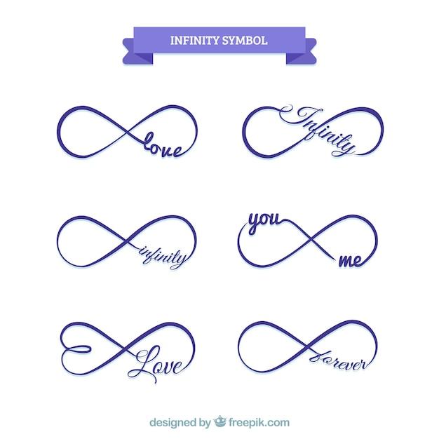 Simbolo di infinito con raccolta di parole Vettore gratuito