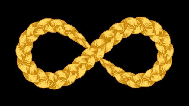 Simbolo di infinito della treccia di nastro Vettore Premium