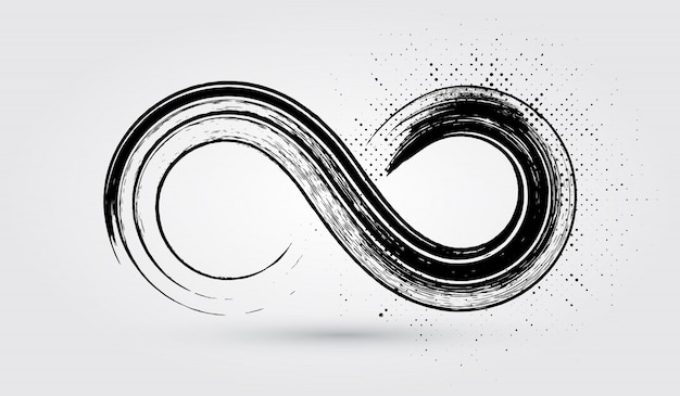 Simbolo di infinito grunge Vettore Premium