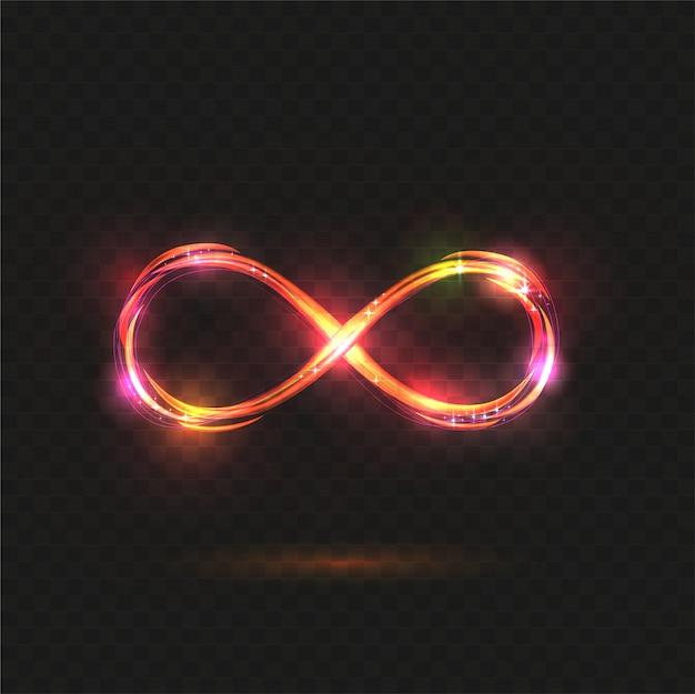 Simbolo di infinito splendente. infinite trasparente brillante. Vettore Premium