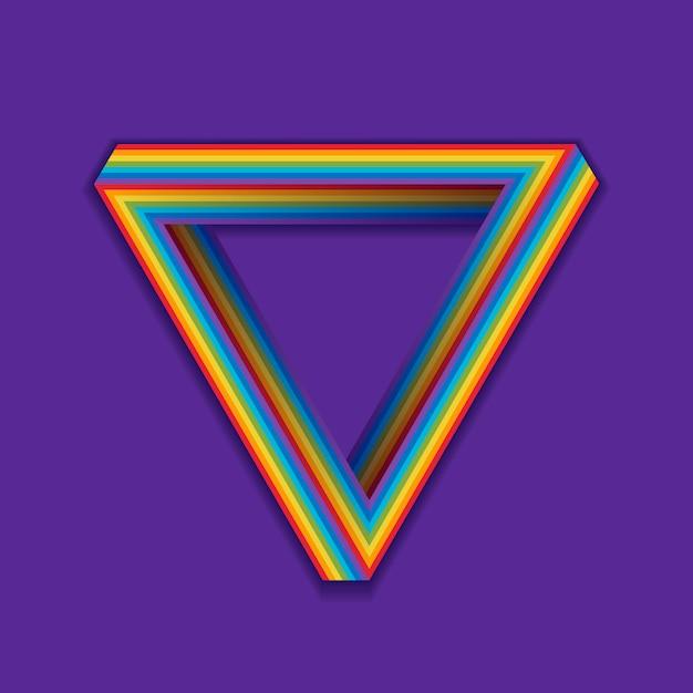 Simbolo di orgoglio lgbt, triangolo senza soluzione di continuità arcobaleno su una viola. Vettore Premium
