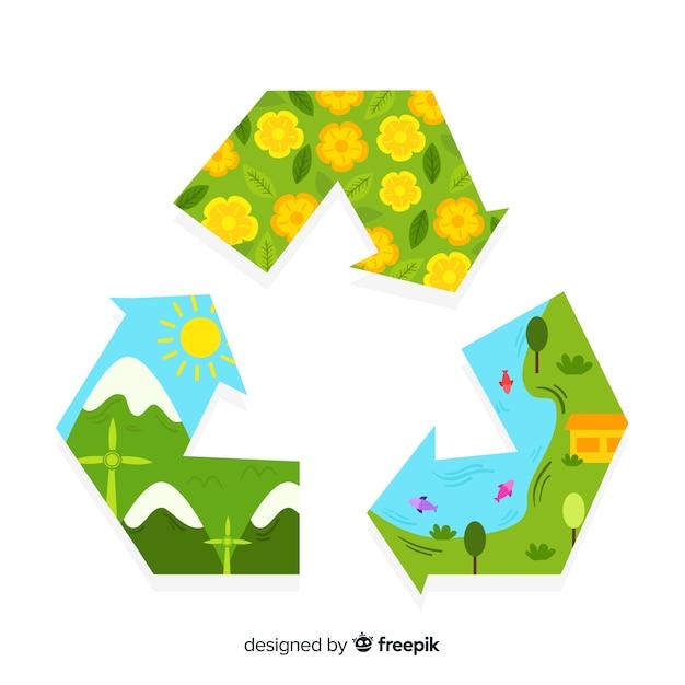 Simbolo di riciclaggio piatto con campi verdi Vettore gratuito