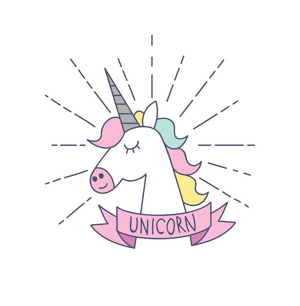 Simbolo Di Unicorno Isolato Su Sfondo Bianco Scaricare Vettori Premium