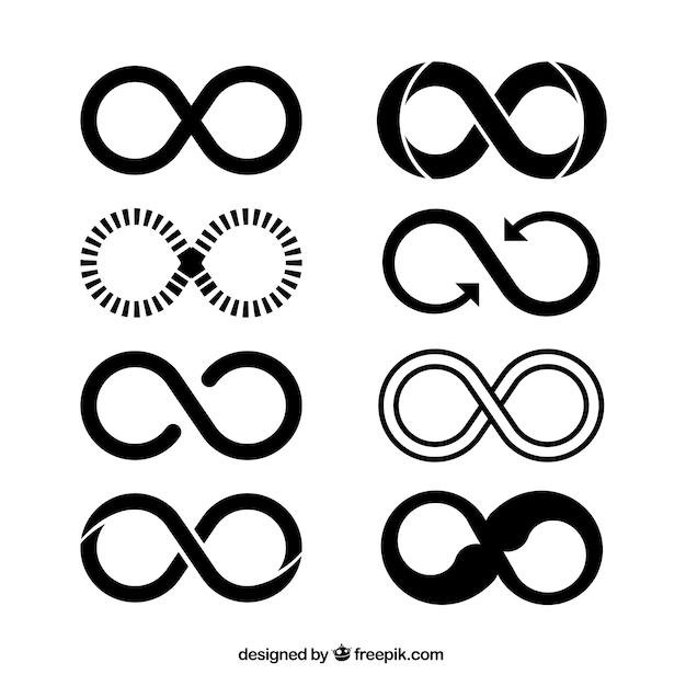 Simbolo infinito nella collezione di colori neri Vettore gratuito
