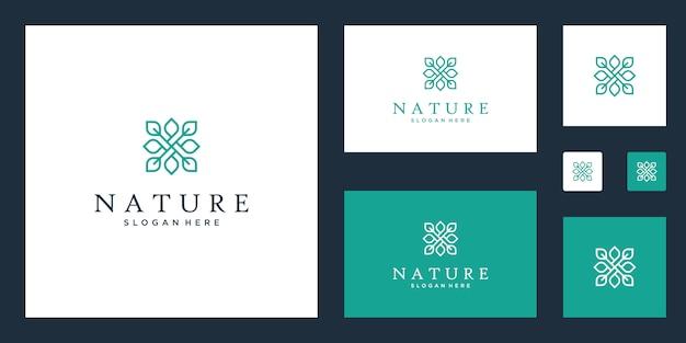 Simbolo per lezioni di yoga, prodotti alimentari naturali e biologici e set di packaging logo Vettore Premium