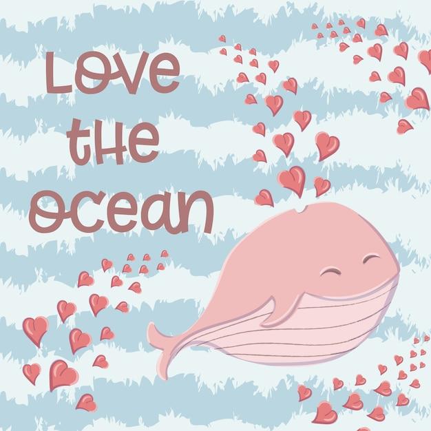 Simpatica balena nel mare con cuori nello stile di un cartone animato. Vettore Premium