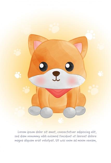 Simpatica carta per cani shiba inu in stile acquarello. Vettore Premium