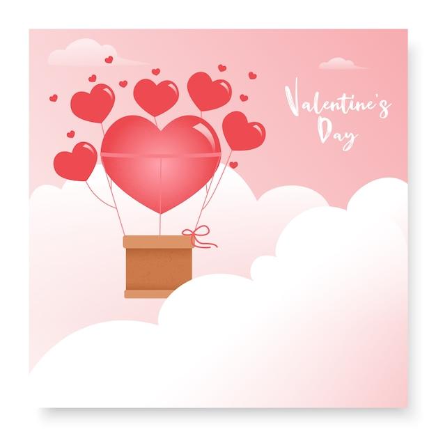 Simpatica cartolina romantica per san valentino Vettore Premium