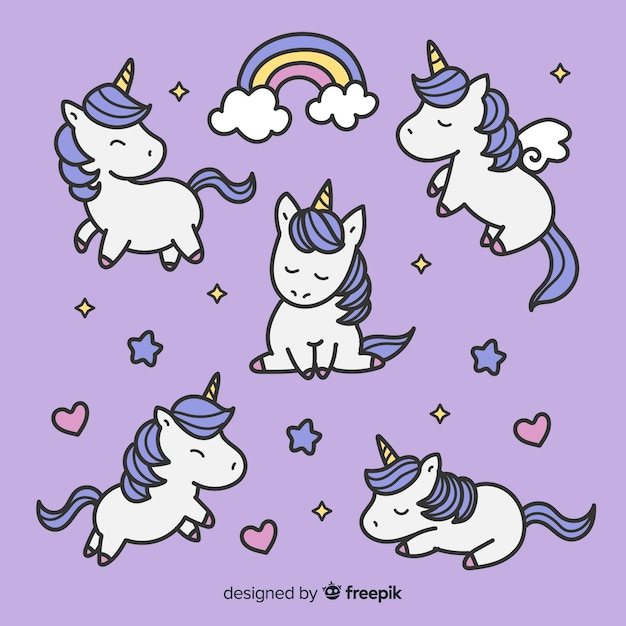Simpatica collezione di personaggi kawaii unicorno Vettore gratuito
