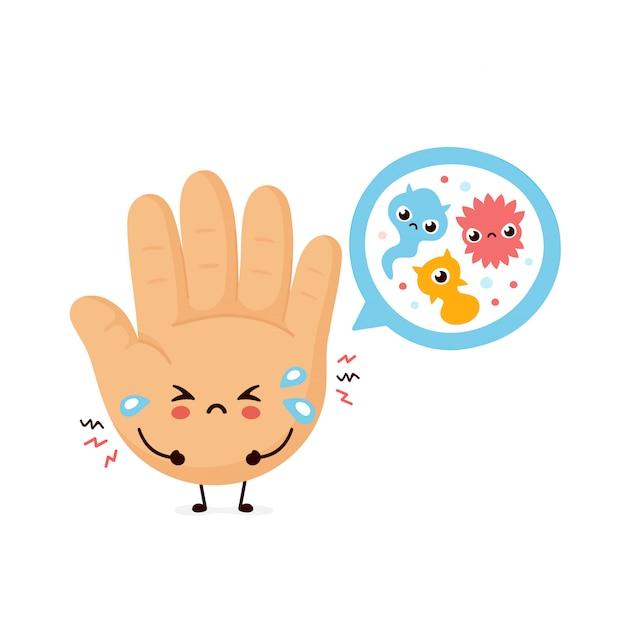 Simpatica mano umana triste e batteri microscopici Vettore Premium