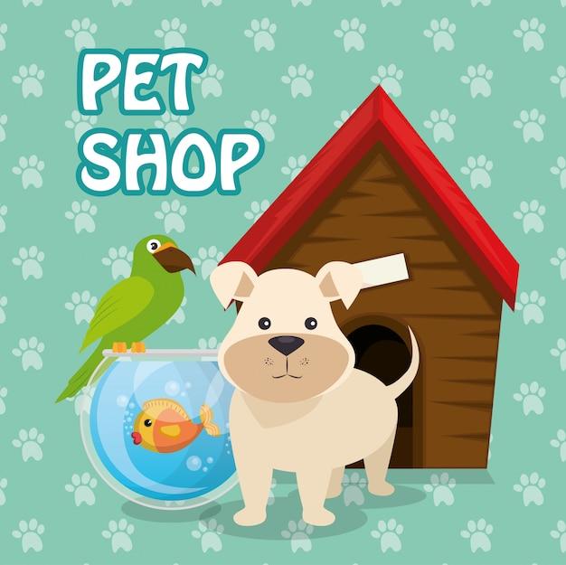Simpatiche mascotte e icone del negozio di animali Vettore gratuito